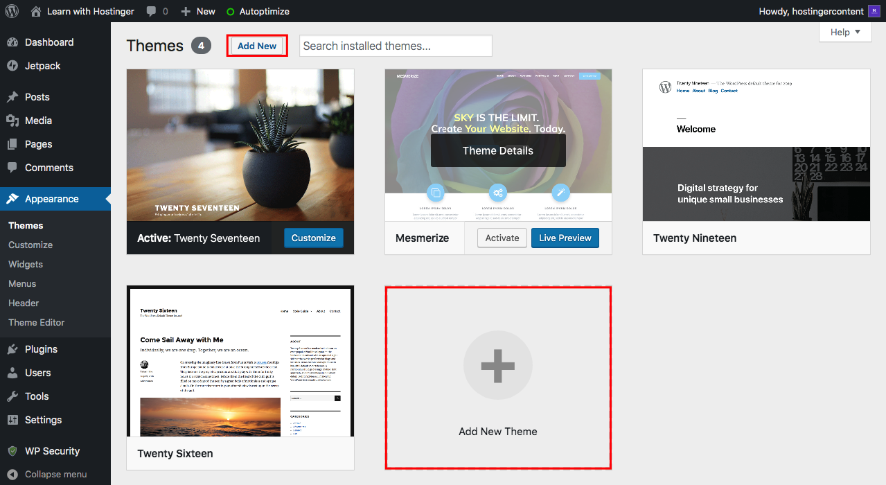 Adding New Theme From WordPress Dashboard
