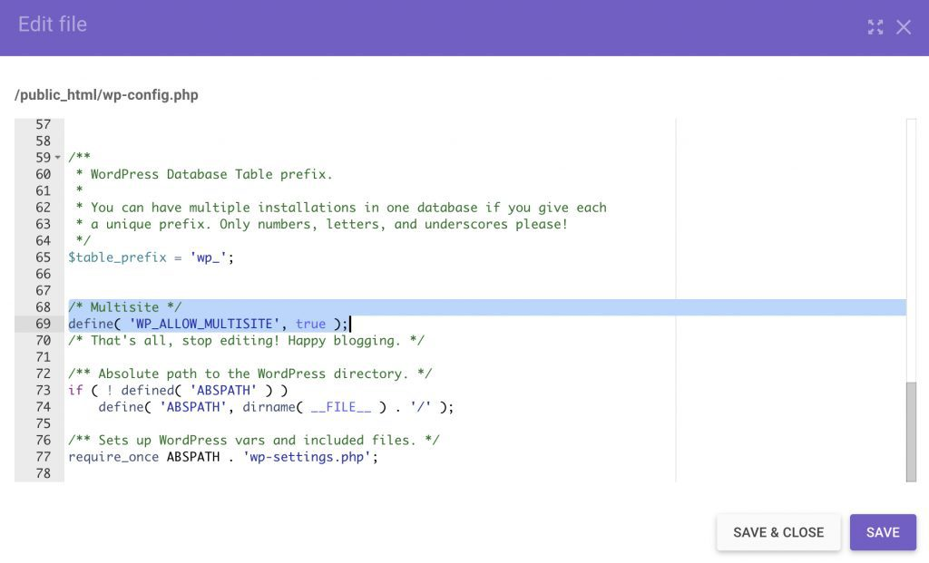 Change the wp-config.php file to add WordPress multisite