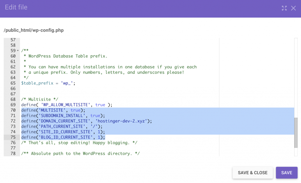 insert the code snippet in the wp-config.php file