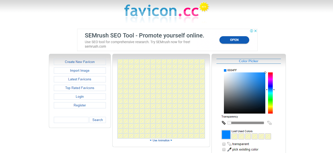 Favicon.cc homepage