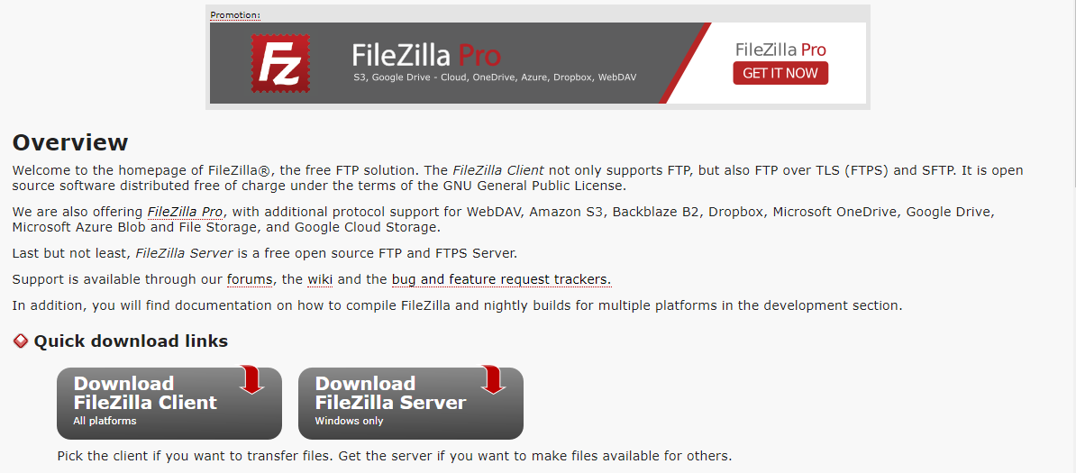 FileZilla donwload page
