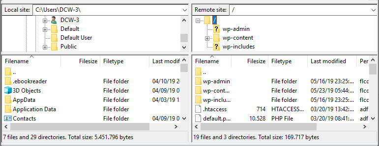 FileZilla directory showing local site of the computer directory and remote site of server directory