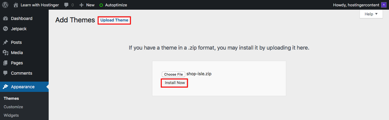 Installing Theme from WordPress Dashboard
