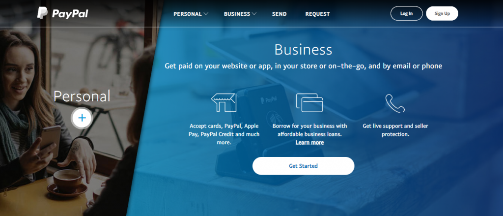 Paypal homepage