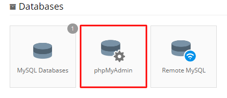 phpMyAdmin button on control panel