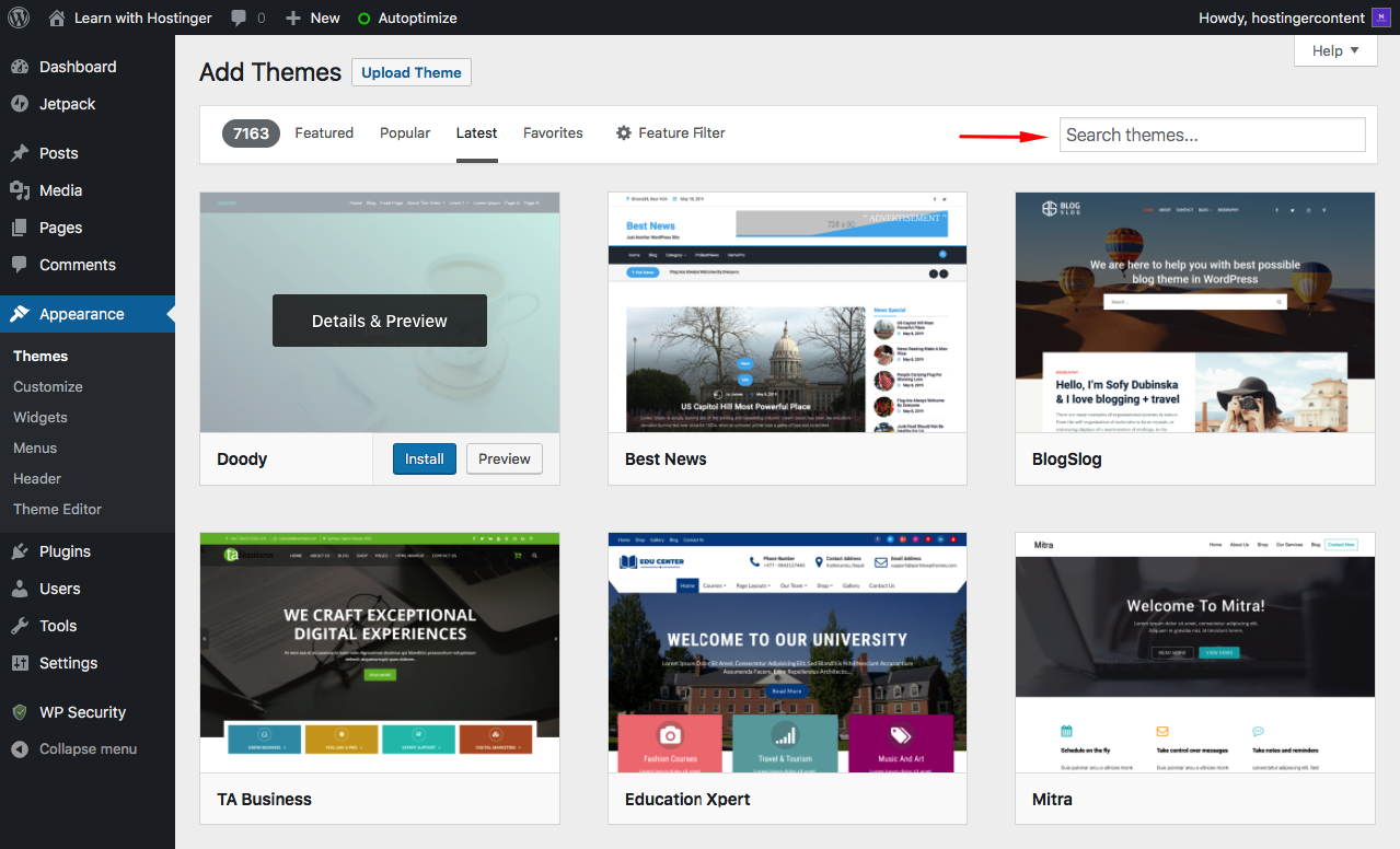 Searching Theme from WordPress Dashboard