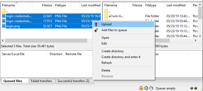 FileZilla uploading file from local side to remote side
