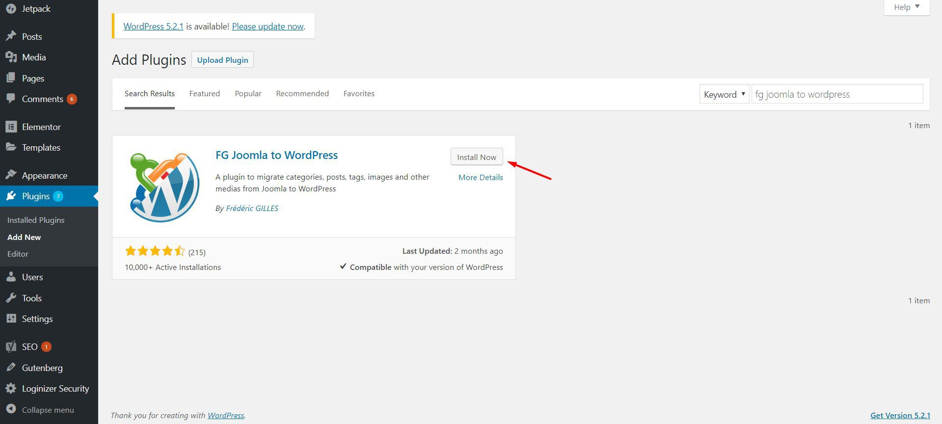Installing FG Joomla to WordPress plugin.