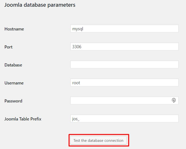 Testing the database connection