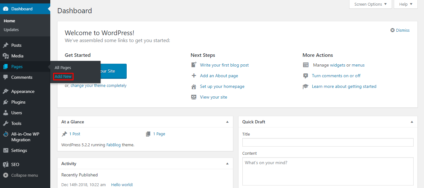 Adding a New Page on WordPress