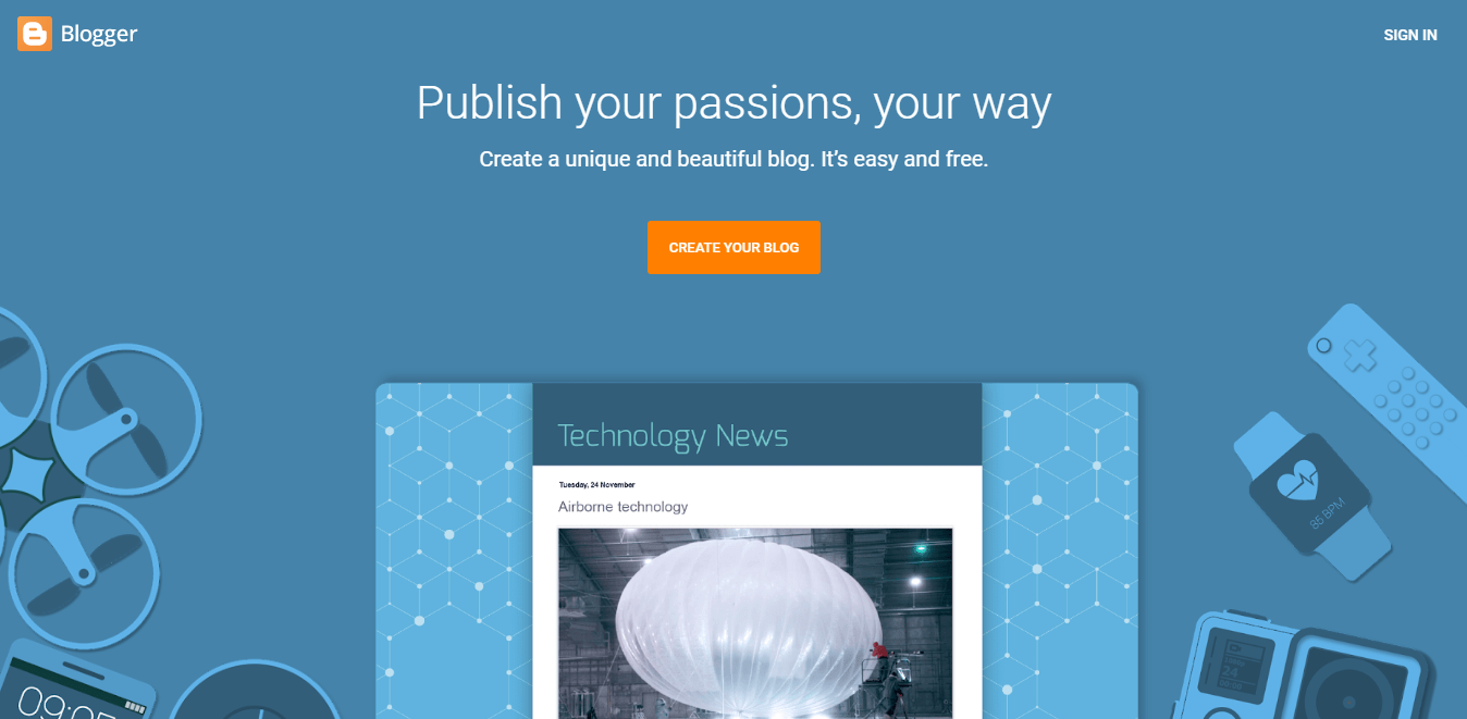 Blogger landing page