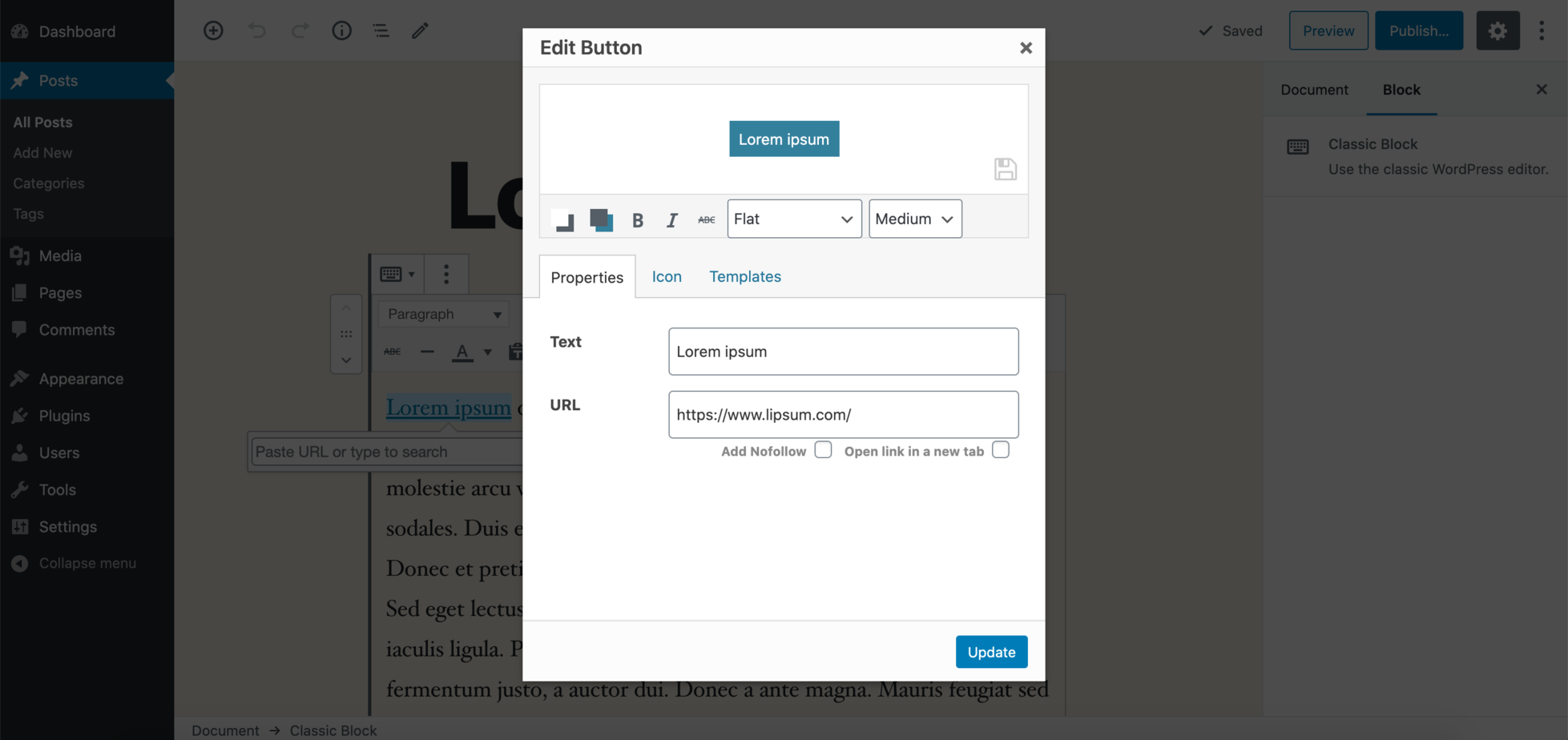 Adding a button link to the text.