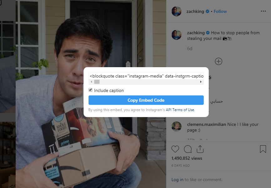 Copying the embed code from Instagram video