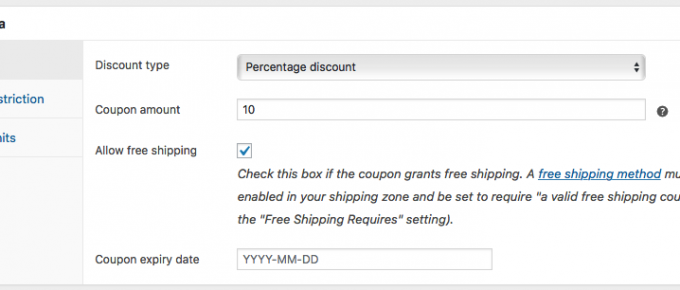 Coupon General Settings Page
