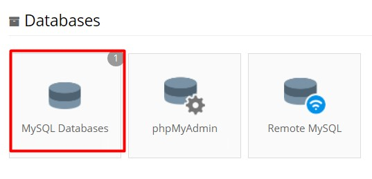 Searching for MySQL Databases in hPanel.