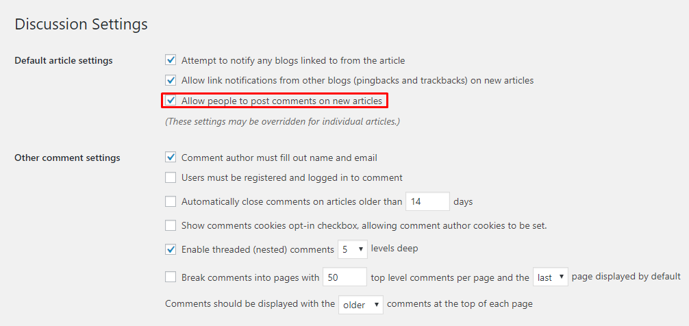 Disabling Comments from WordPress Settings