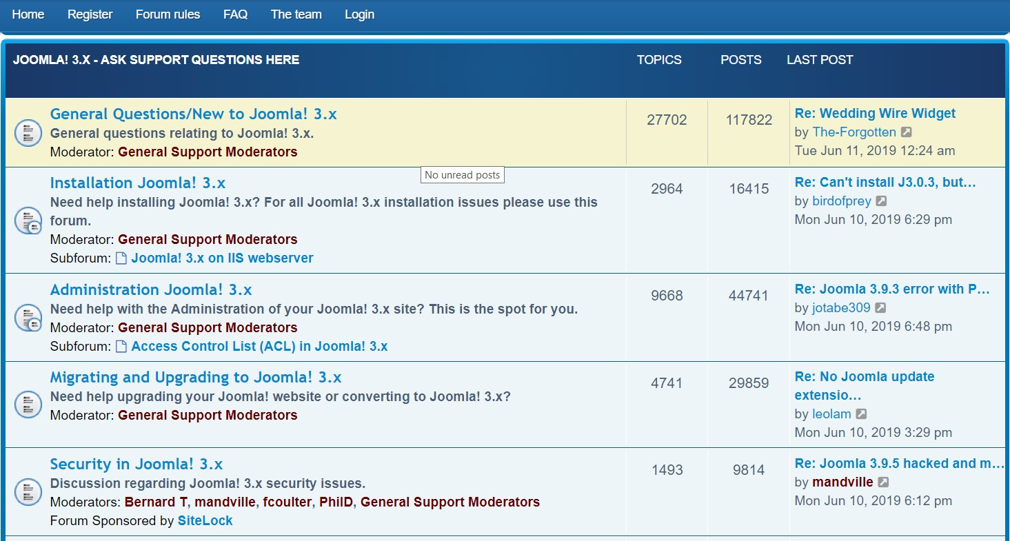 Joomla! community forum for both its users and developers.