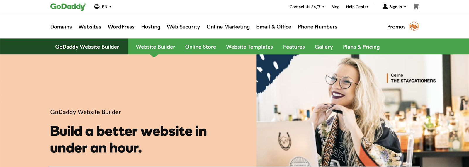 GoDaddy site builder homepage