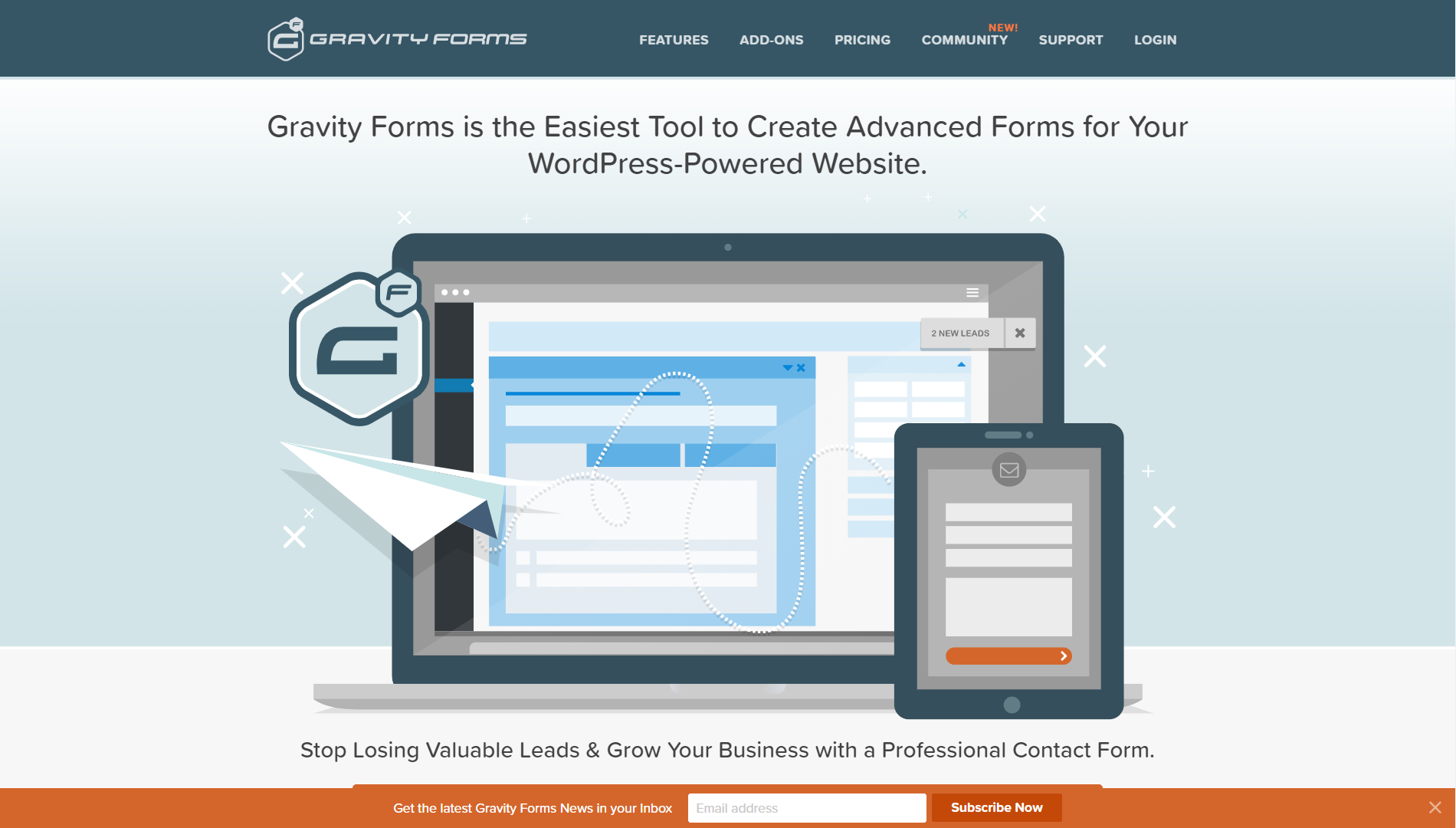 The homepage of Gravity Forms