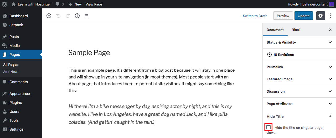Hide Plugin Option to Remove Page Title in WordPress