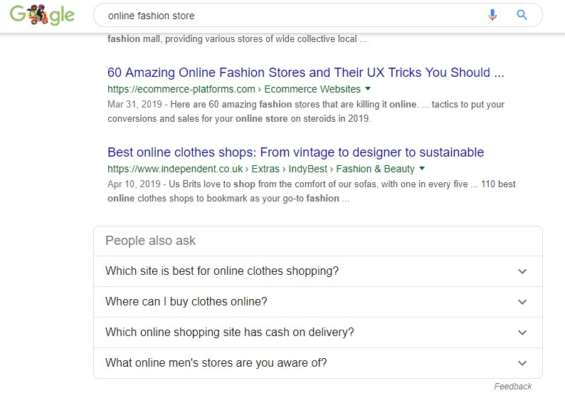 Google SERP example by searching online fashion store