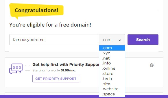 Choosing your domain extension at Hostinger