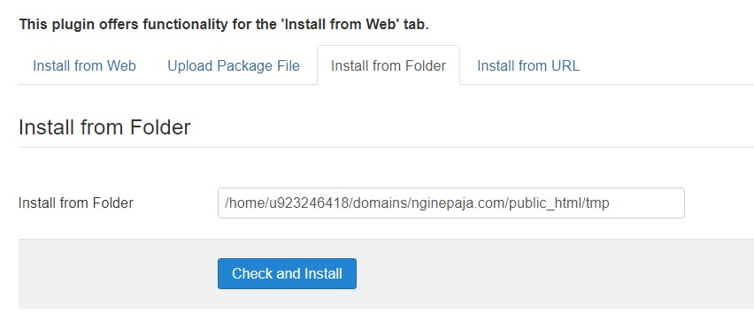 Installing a template through Joomla administrator page.