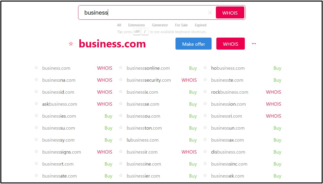 Using Instant Domain Research to search for available domain names.