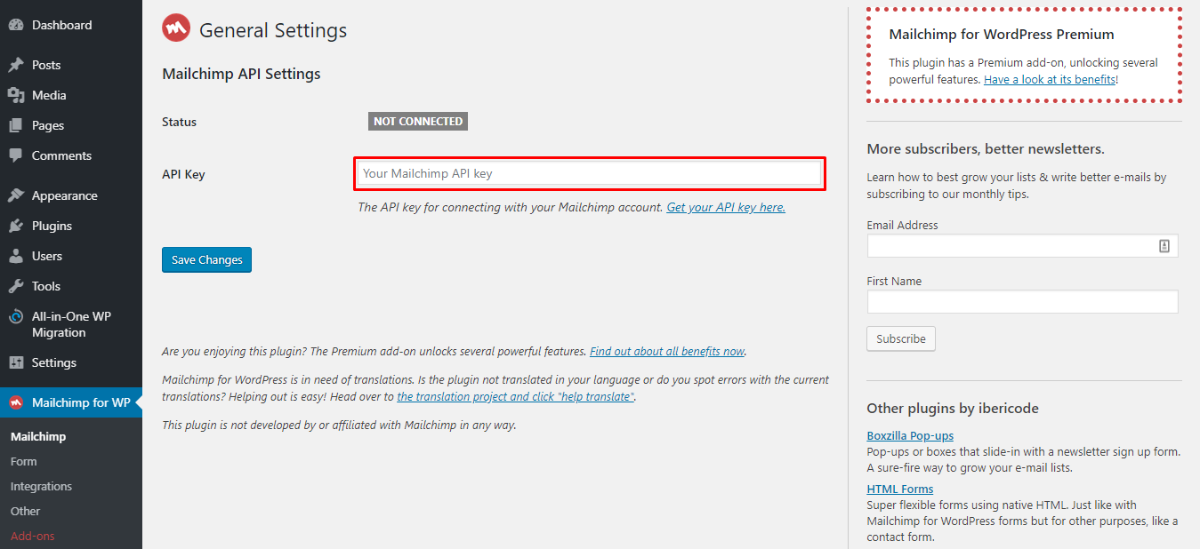 Mailchimp for WP general settings