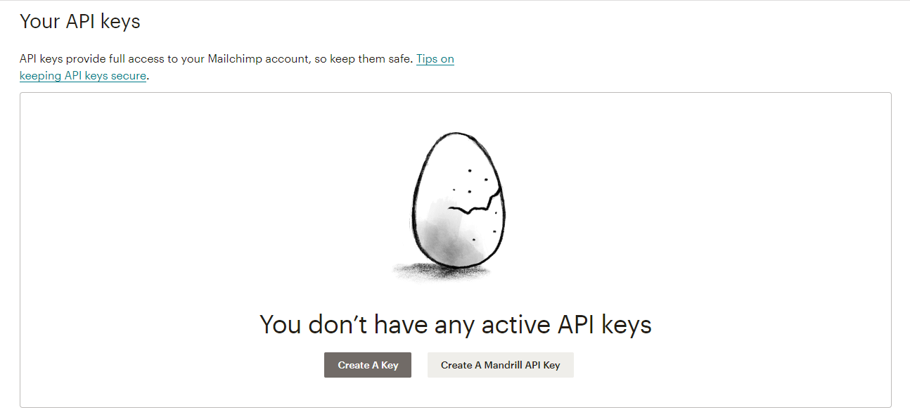 Creating a API key through Mailchimp