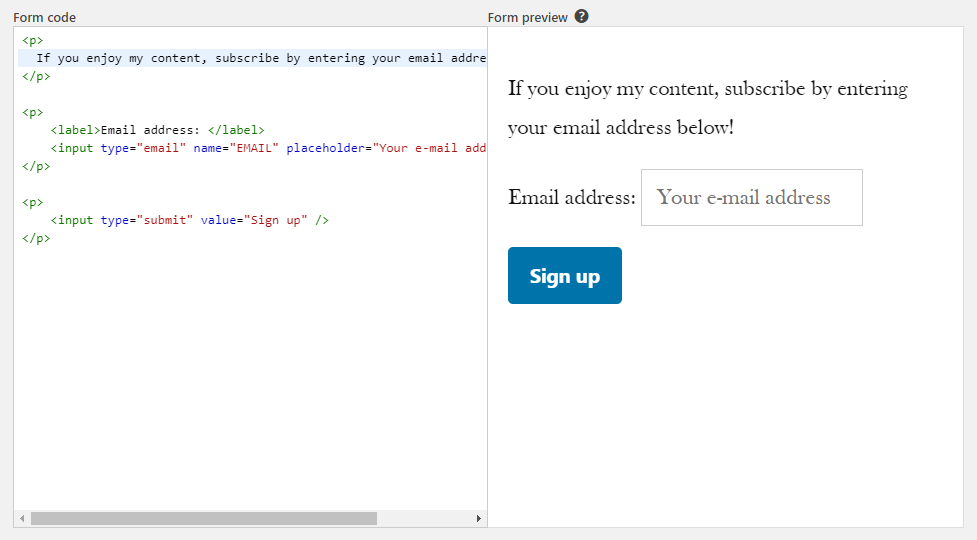 Creating your Mailchimp signup form