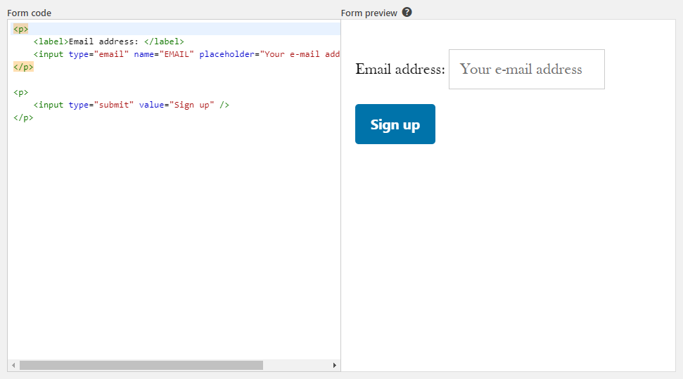 Mailchimp Form builder window