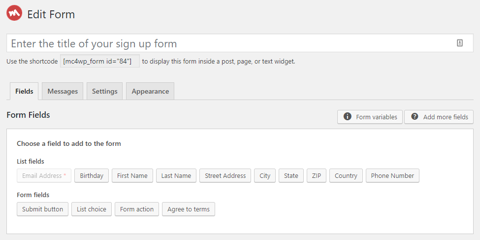 Mailchimp Form Fields