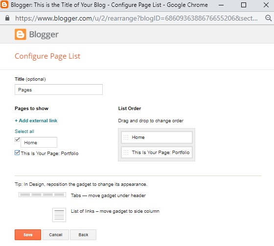 Adding a page to your website's sidebar on Blogger.