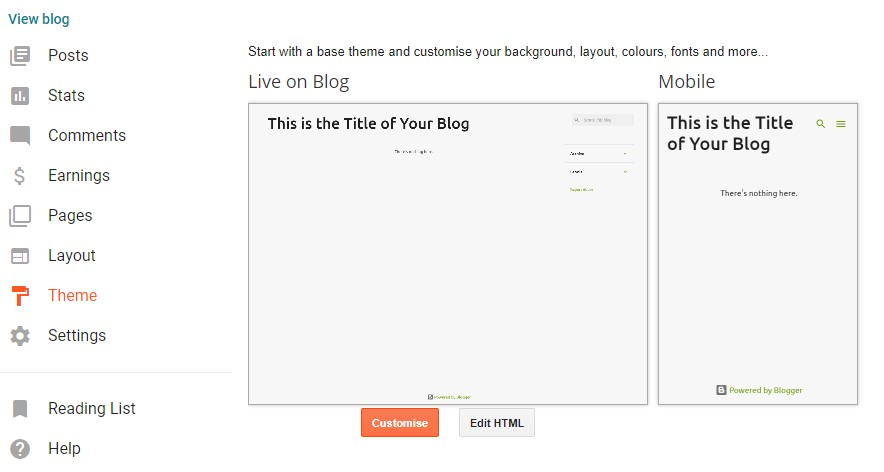 Changing Blogger theme settings.