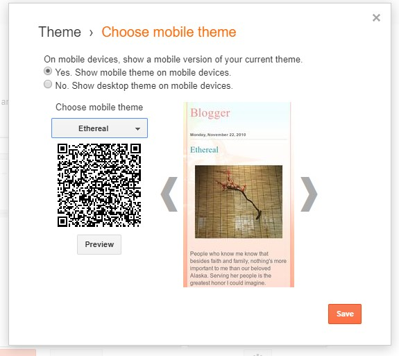Choosing your mobile Blogger theme.