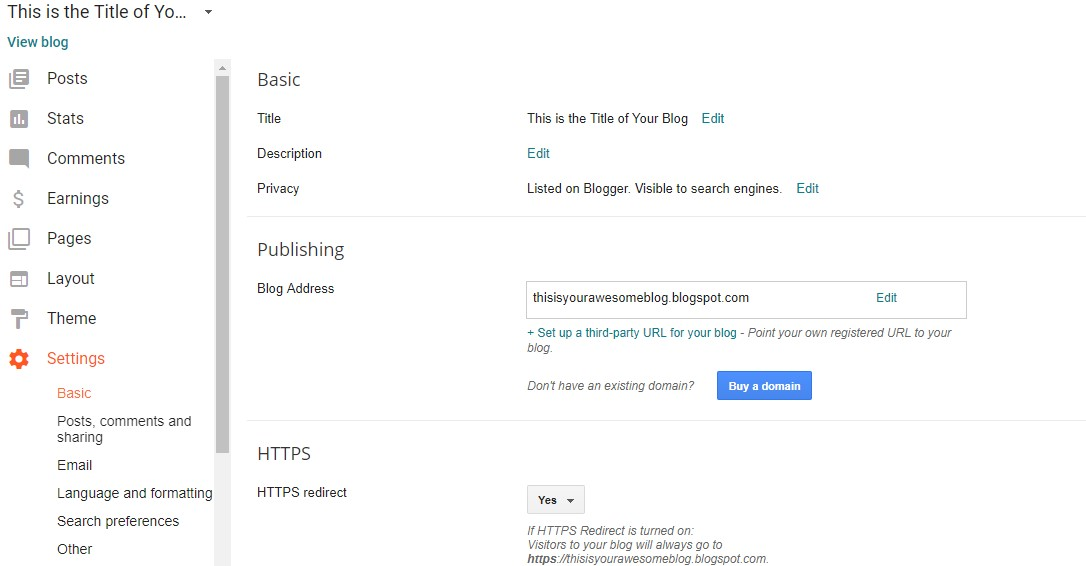 Changing your blog settings in Blogger.