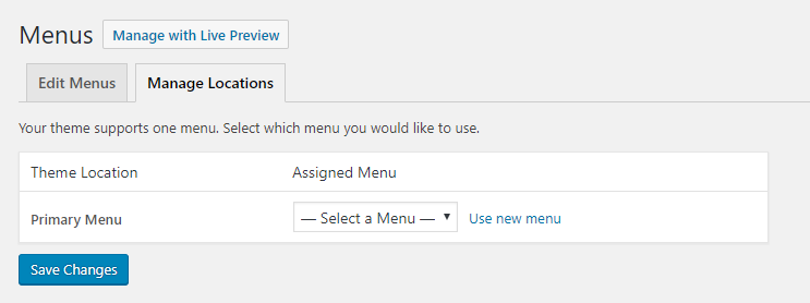 Setting Menu Location on WordPress