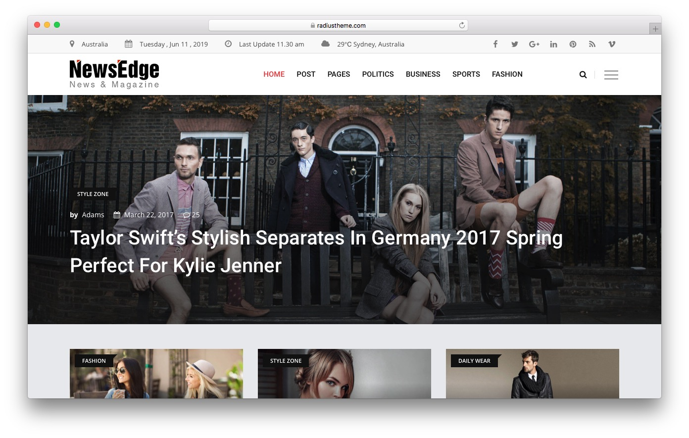 NewsEdge HTML template preview