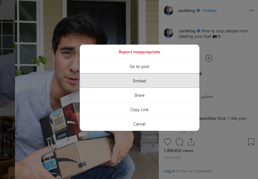 Obtaining an embed code from Instagram video