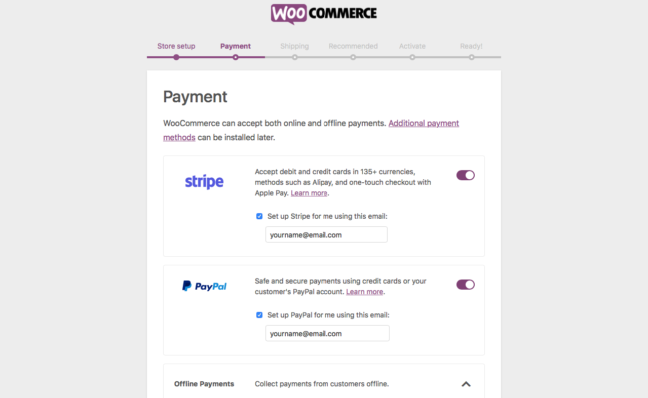 Payment Setup in Woocommerce Initial Settings