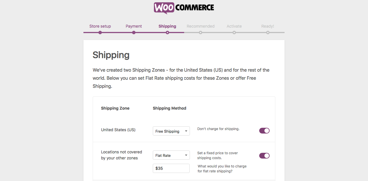 Shipping Setup in Woocommerce Initial Settings