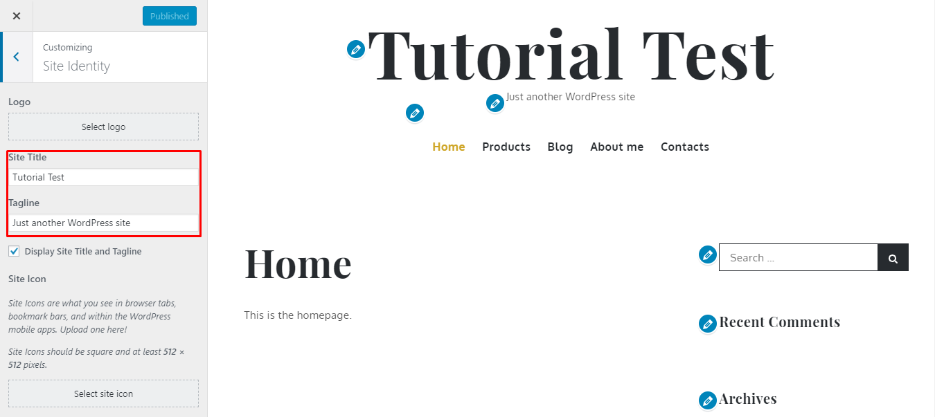 Modifying WordPress Title and Tagline from Theme Customization