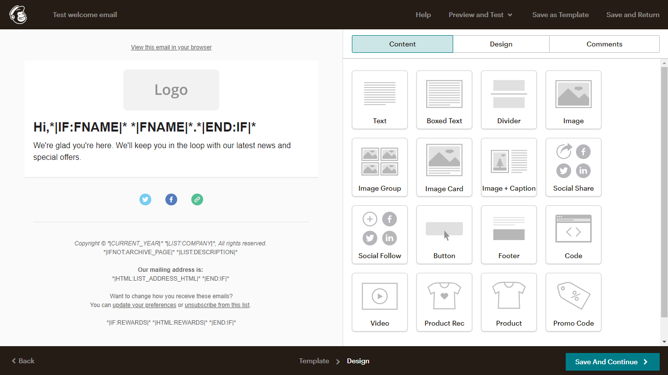 Adding additional content to a Mailchimp template