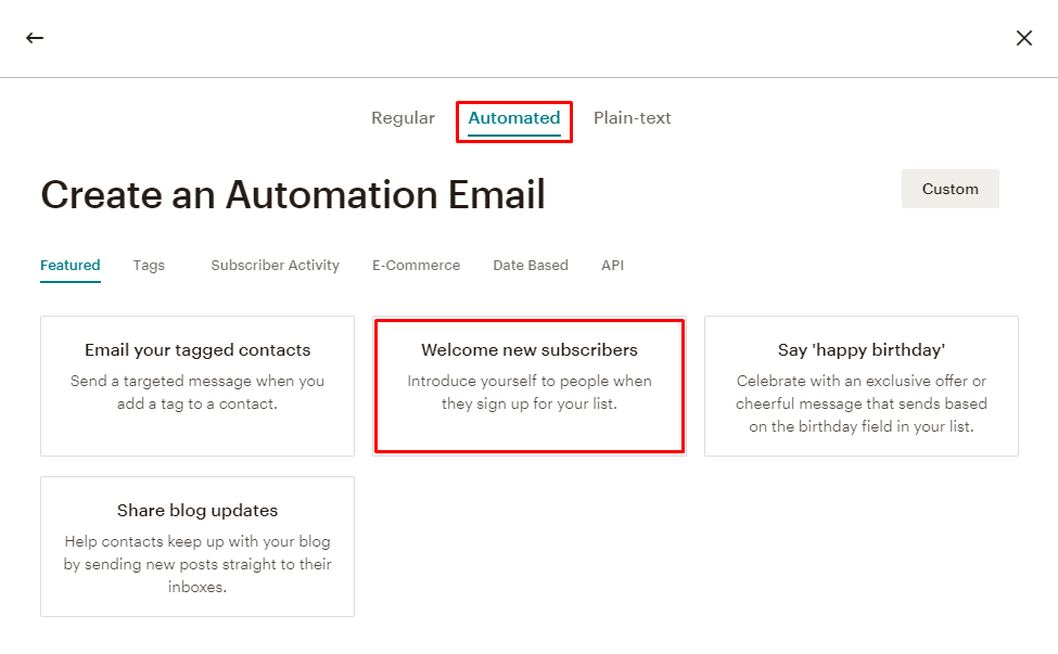 Creating Mailchimp automated email