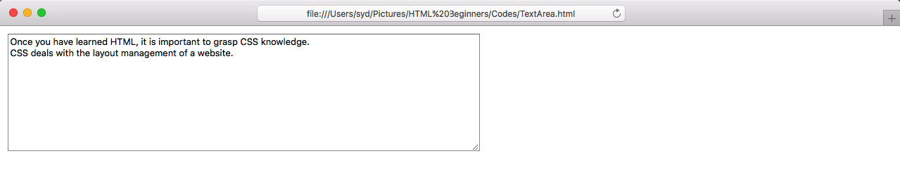 Text Area in an HTML Document
