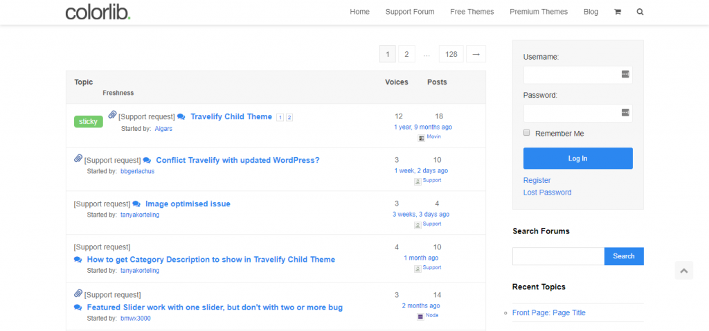 Travelify support forum page