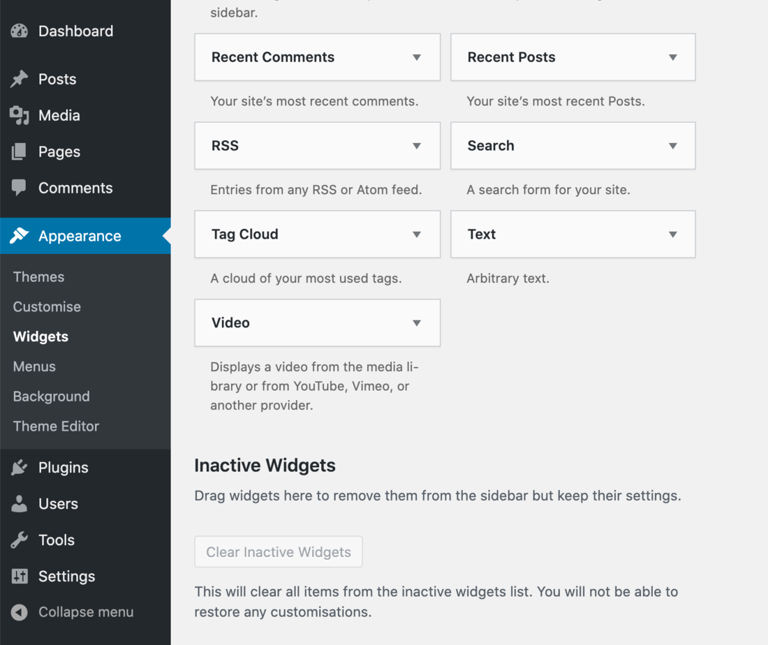 WordPress Widgets menu options.