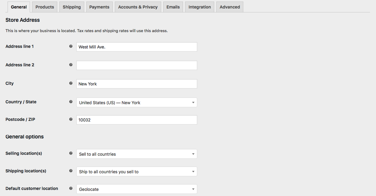 Woocommerce General Settings Page