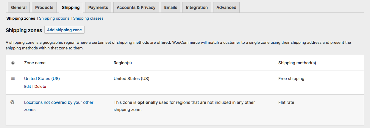 Woocommerce Shipping Settings Page